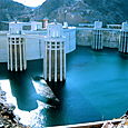 the backside of the Hoover Dam holding back the Colorado River